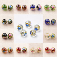 5 x Flower Painted Glass Round Beads Jewelry Making 12mm Hole 1mm Optional Color