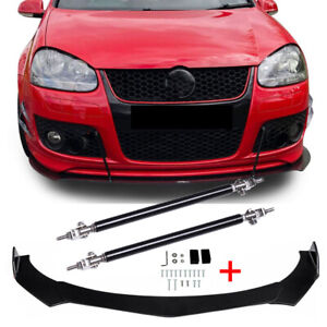 For VW Golf MK5 MK6 MK7 Front Bumper Lip Body Kit Spoiler Splitter + Strut Rods