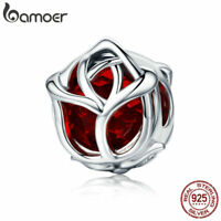 Bamoer European S925 Sterling Silver Charming red rose For Bracelet Jewelry