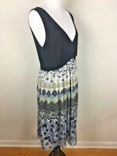 Believe Womens Dress Size 12 Sleeveless V Neck Black Grey Pleated Skirt