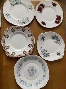 Vintage China Cake Plates  x 5 Job Lot / Wedding / Party / Tea Room