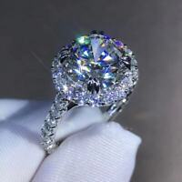 Forever One Moissanite Engagement Ring 3.0Ct Round Solitaire 14K White Gold