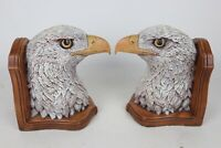 """Vintage Pair of Bald Eagle Head Painted Ceramic Mold Bookends - 8"""" x 7"""" x 5"""""""