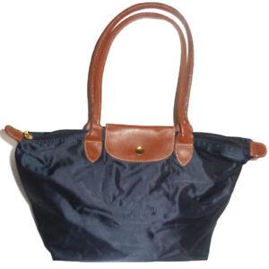 Womens Girls Nylon Tote Shopper School Foldable Bag Size Medium Dark Blue