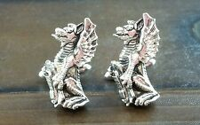 Vintage Swank Silver Winged Dragon Gargoyle Serpent Cufflinks
