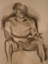 Nude Black Man Sitting-Charcoal Drawing-21x 17-1970s-Israel Louis Winarsky