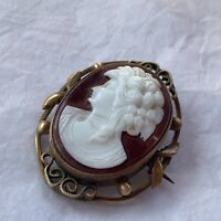 Antique Cameo Brooch 1890s Pressed Glass Oval Portrait Victorian Jewellery