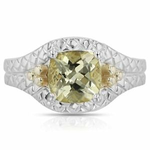 Cushion Cut 8 x 8 mm Gemstone Ring in 925 Sterling Silver and 14kt Yellow Gold