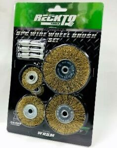 """5pc Wire Wheel Flat Brush Set Rust, Paint Removal 1/4""""Adaptor Fits To Your Drill"""