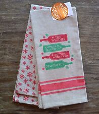 Set of 2 Luxe Habitat Cotton Tea Kitchen Towels Christmas Wine and Snowflake