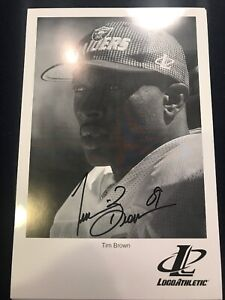 Tim Brown Signed Oakland Raiders Autographed B&W Logo Athletic Promo Photo F2