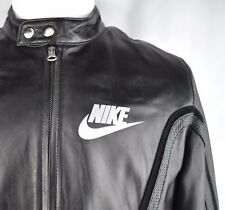 Nike LIMITED ISSUE Black Leather Cafe Racer Bomber Jacket Jordan 72 Mens L VTG