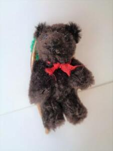 "2.5"" Miniature German Teddy Bear BROWN WOOL MOHAIR Vintage Steiff or Hermann"
