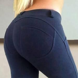 Damen Stretch Hose Jeans-Look Slim Skinny Push up Leggings Leggins Jeggings SF
