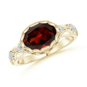 Oval Garnet Vintage Style Ring with Diamond Accents 14K Yellow Gold Size 3-13
