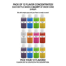 Shaved Ice Sno Cone Flavor Syrup Mix Concentrate Snow Kone Mix 12 Pack 1oz