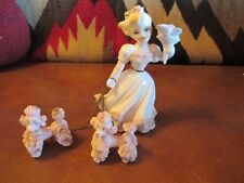 VINTAGE LEFTON PORCELAIN GIRL #692 with BOUQUET and POODLES w. spaghetti details