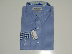 Nick Graham Mens Shirt Light Blue Patterned L/S Modern Fit NWT 2XL XXL