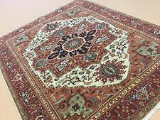 """Persian Oriental Area Rug Serapi Hand Knotted Wool Beige Rust 7'.11"""" X 9'.10"""""""