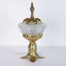 Vtg Glass Candy Dish Hollywood Regency Gold Leaf Pedestal Lid Vanity