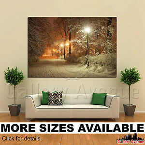 A Wall Art Canvas Picture Print - Winter Alley Park Shining Lanterns Night 3.2