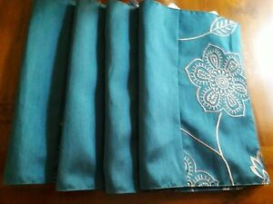 Embroidered Placemats, Teal  33 X 48cm Set of 4 100% Polyester