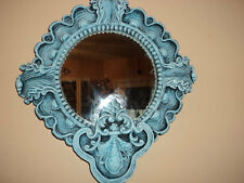 Hand painted upcycled shades of blue plaster seascape wall mirror