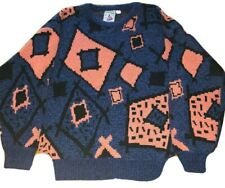 Vintage 80s AITCH Sweater Made In Korea Mens Small Abstract Hip-Hop Color Block