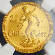 1930, Germany/Poland, Danzig (Free City). Scarce Gold 25 Gulden Coin. NGC MS-64!