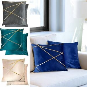 Suede Soft touch Cushion Covers or Filled Cushions with Gold Metallic Banding