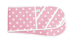 Double Oven Glove Pink Polkadot - Handmade in the UK with Heat Steam Protection
