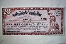 2000 American Liberty Dollar Check - Twenty Dollars - Proof - Voided