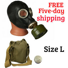 USSR Russian Military Gas Mask GP-5 Black Rubber Mask Full 4pcs set Size L