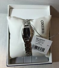 Seiko Women's Black Dial Stainless Steel Bracelet Watch SUP317