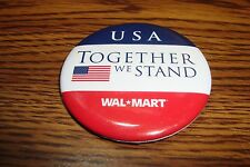 Historical 9-11 * USA Together We Stand Wal-Mart / USA Flag Pin / Red-White-Blue