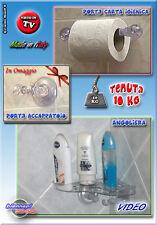 MENSOLA ANGOLIERA + Porta CARTA IGIENICA + Porta ACCAPPATOIO Ventose Tenuta 10Kg