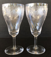 Vintage Needle Etched Elegant Glass Wine Goblets Glasses Flowers And Vine
