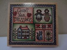 Count Your Blessings Rubber Stampede Country Quilt Wood Mounted Rubber Stamp NEW