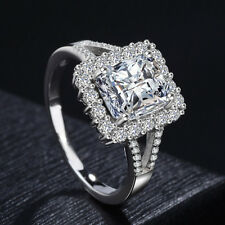 Ring Women's Party Fashion Jewelry Size 8 3ct Princess Cut 925 Silver Cz Wedding