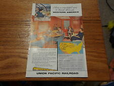 1958 Union Pacific Railroad Vintage Magazine Ad Redwood Lounge
