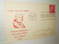 Thomas Jefferson 2 cent Stamp Regular Issue 1954 1st Day Cover Postcard (1954)