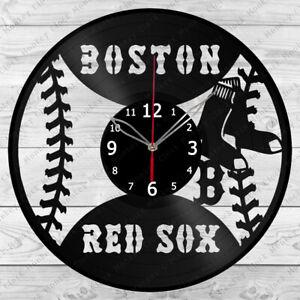 Vinyl Clock Boston Red Sox Vinyl Record Wall Clock Home Decor Handmade 1050