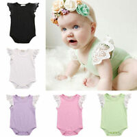 Newborn Baby Girls Floral Clothes Lace Sleeve Romper Jumpsuit Sunsuit Outfit Set