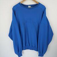 Vintage 90's Best Team Spell Out Logo sweatshirt retro blue SZ LARGE (E2173)