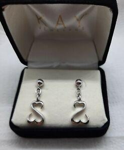 Sterling Open Heart Earrings 10K Stud Jane Seymour Kay Jewelers In Orig Box