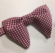 Handmade Bow tie Vintage style 70`s Burgundy Gingham Check Gift 4 Him, Wedding