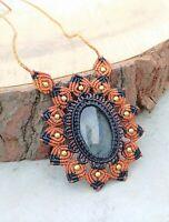 Flashy Labradorite Macrame Celine Floral Necklace Pendant Jewelry Stone Handmade