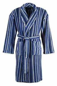 Camille Mens Supersoft Navy Blue Striped Bathrobe Dressing Gown
