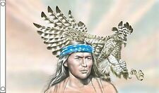 RED INDIAN WITH EAGLE 5x3 feet FLAG 150cm x 90cm flags NATIVE AMERICAN