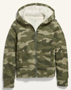 Old Navy Kids Girls Cozy Sherpa-Lined Zip Up Hoodie Size XS or Small or Medium